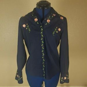 Boston Proper Western Embroidered Black Shirt 8